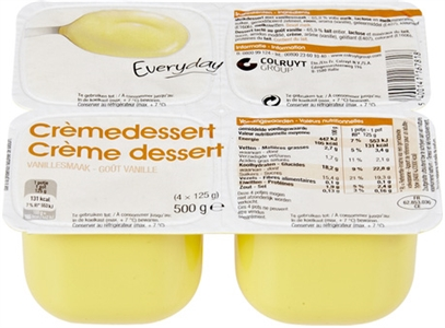 EVERYDAY (COLRUYT) Crèmedessert vanillesmaak